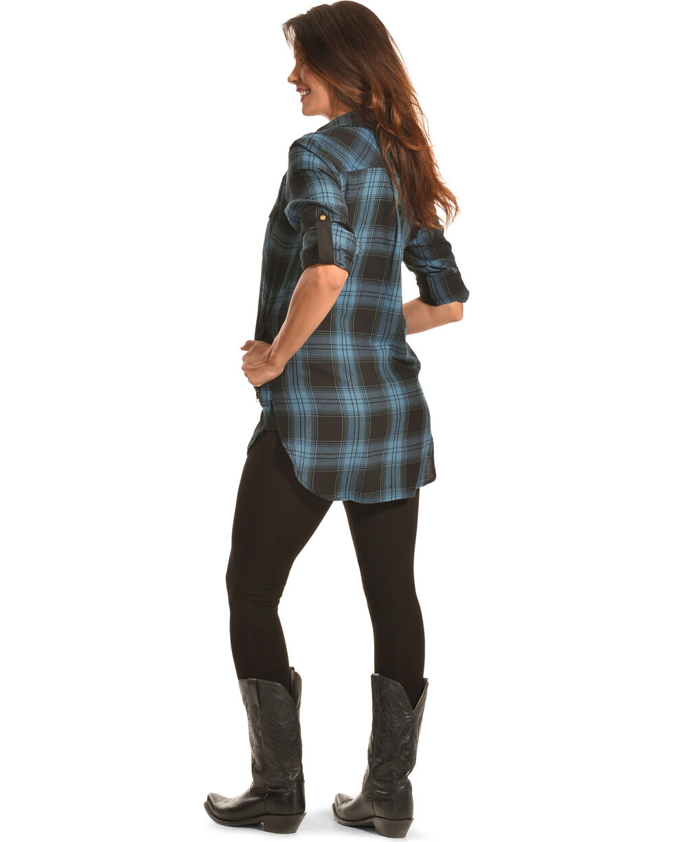 Tasha Polizzi Women's Black Plaid Highland Shirt , Black, hi-res