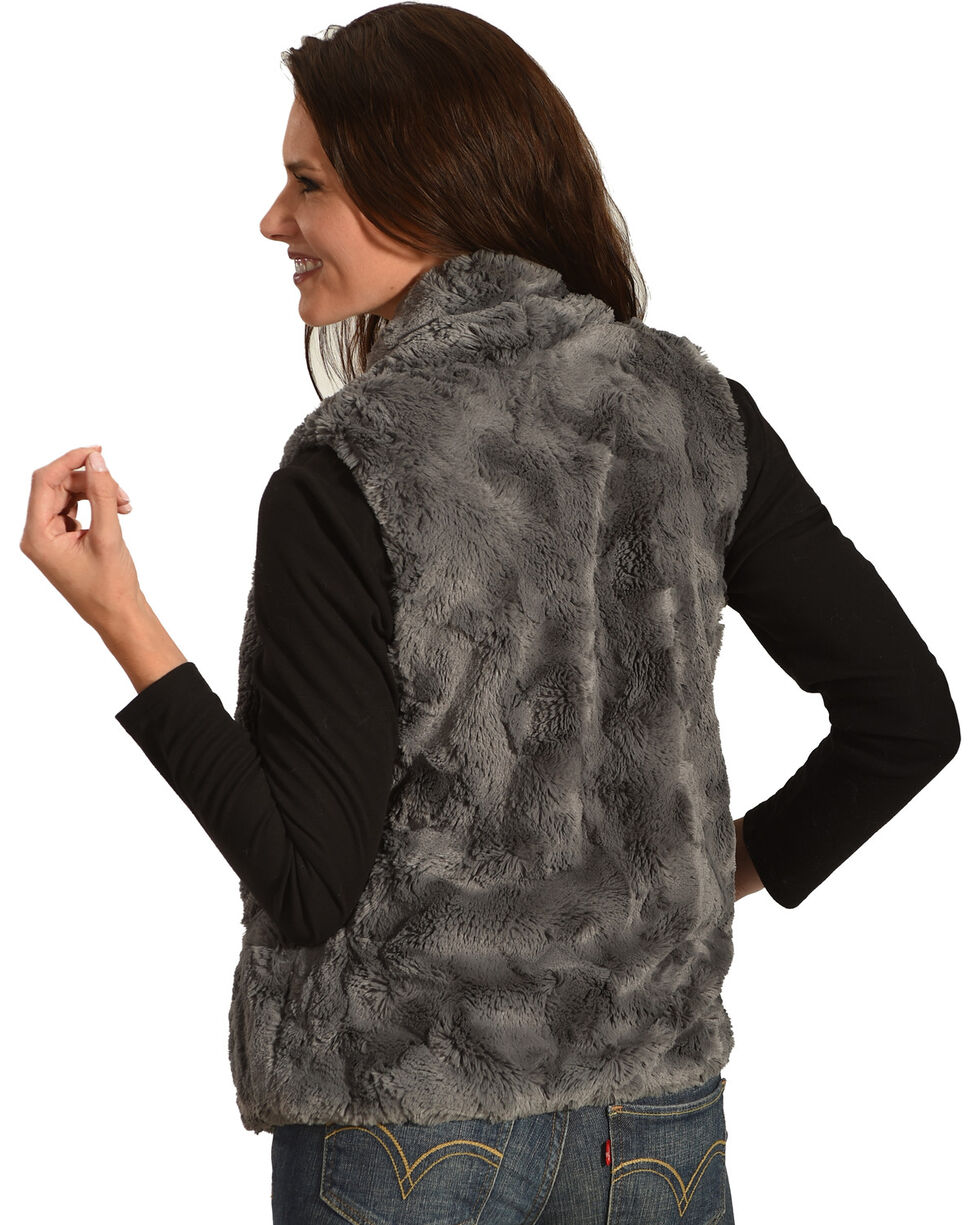 Jack Women's Cheerio Swirly Textured Soft Faux Fur Vest, Charcoal, hi-res