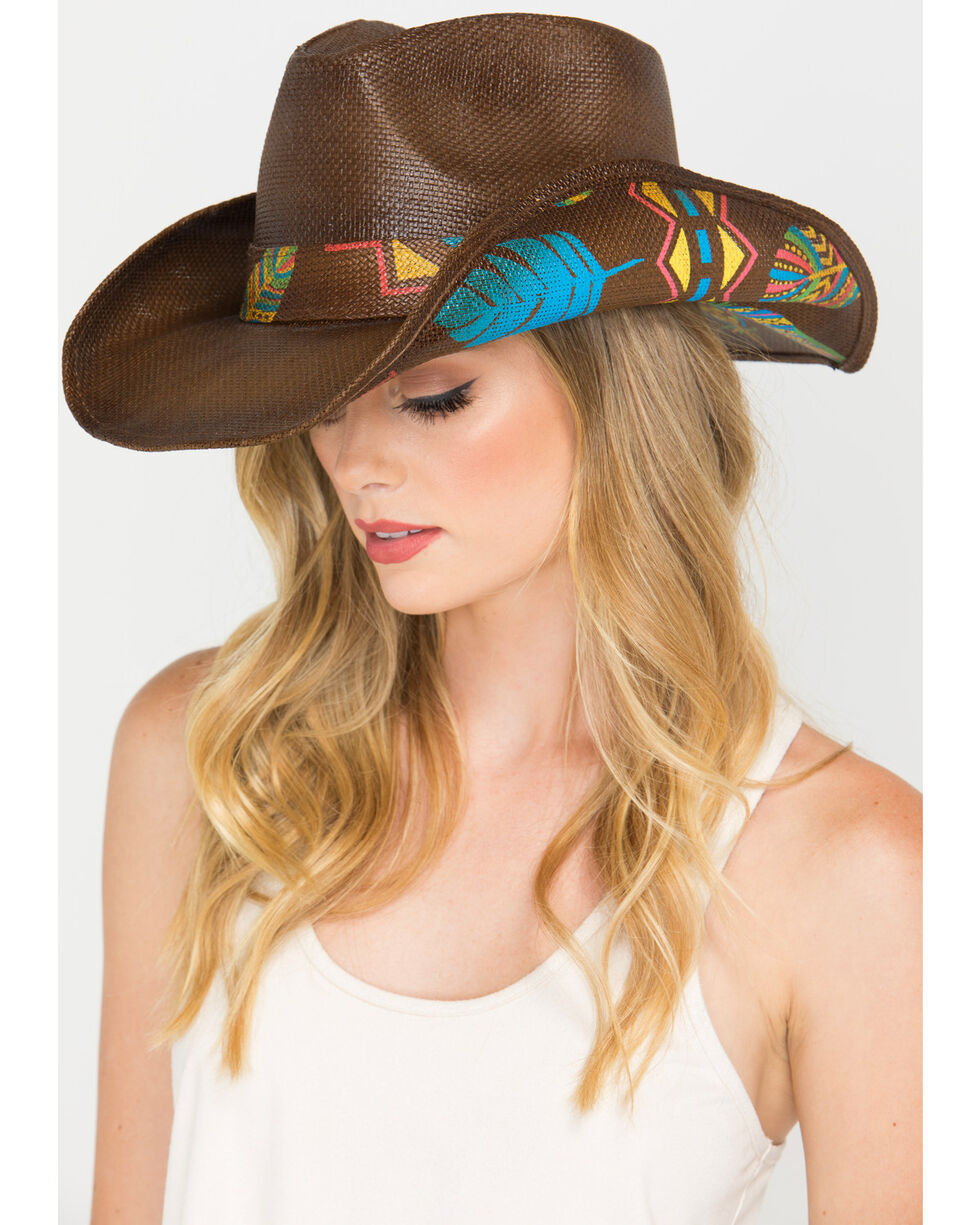 Shyanne® Women's Feather Print Straw Hat , Brown, hi-res