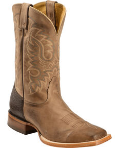 Nocona Men's Vintage Leather Western Boots, Tan, hi-res