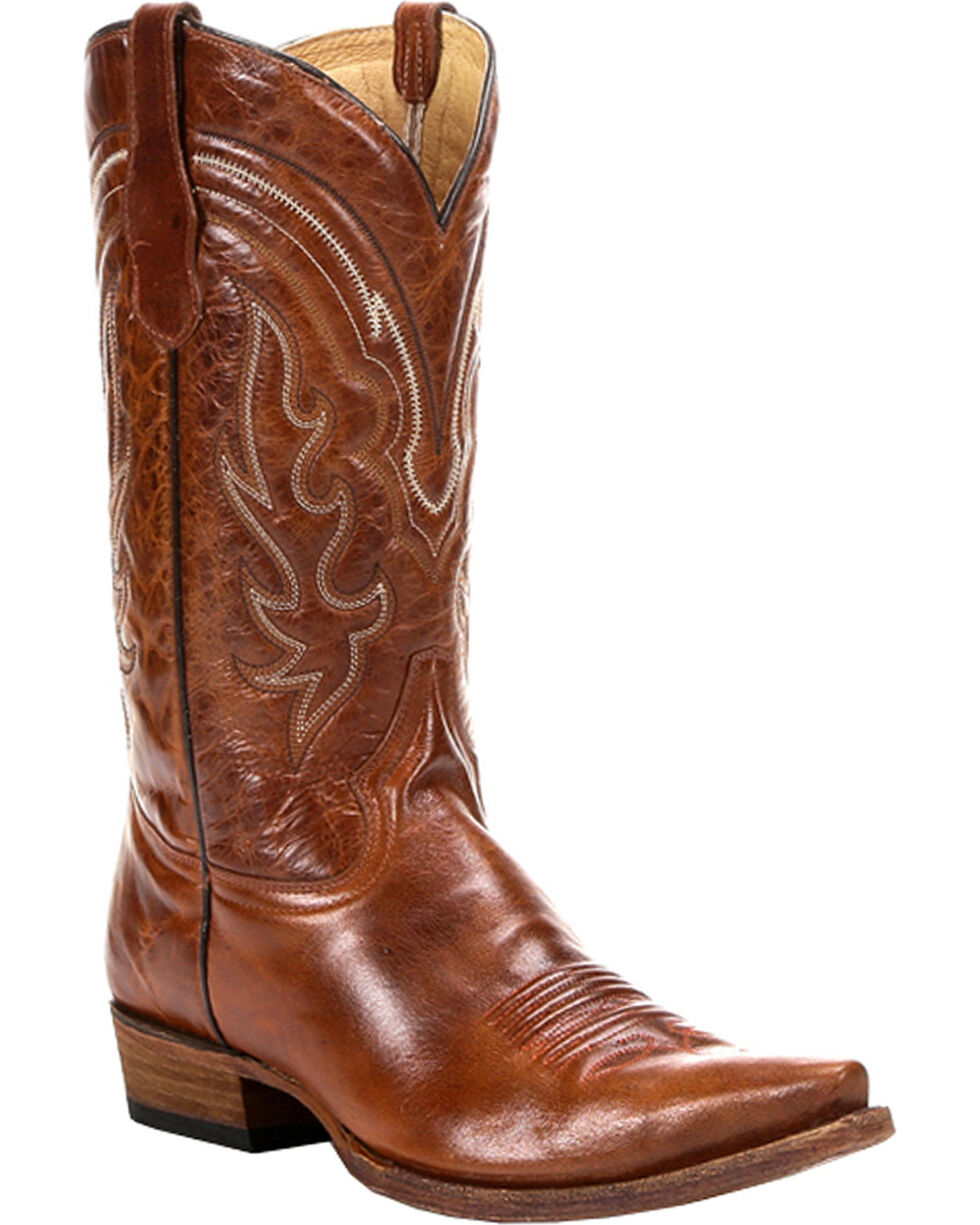 Circle G Men's Shine Snip Toe Western Boots , Cognac, hi-res