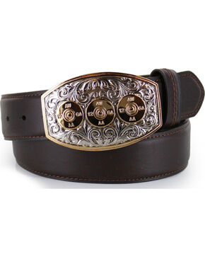 Cody James® Bullet Leather Belt, Brown, hi-res