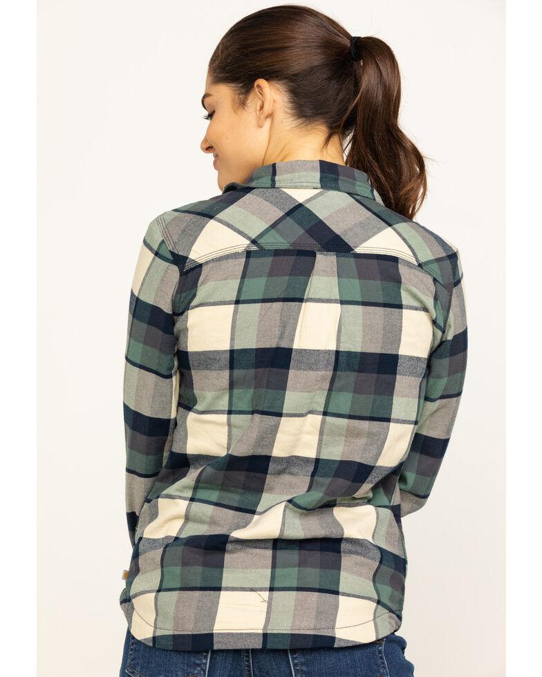 Carhartt Women's Rugged Flex Hamilton Fleece-Lined Flannel Work Shirt, Green, hi-res