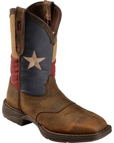 Rebel by Durango Men's Steel Toe Texas Flag Western Boots, Brown, hi-res