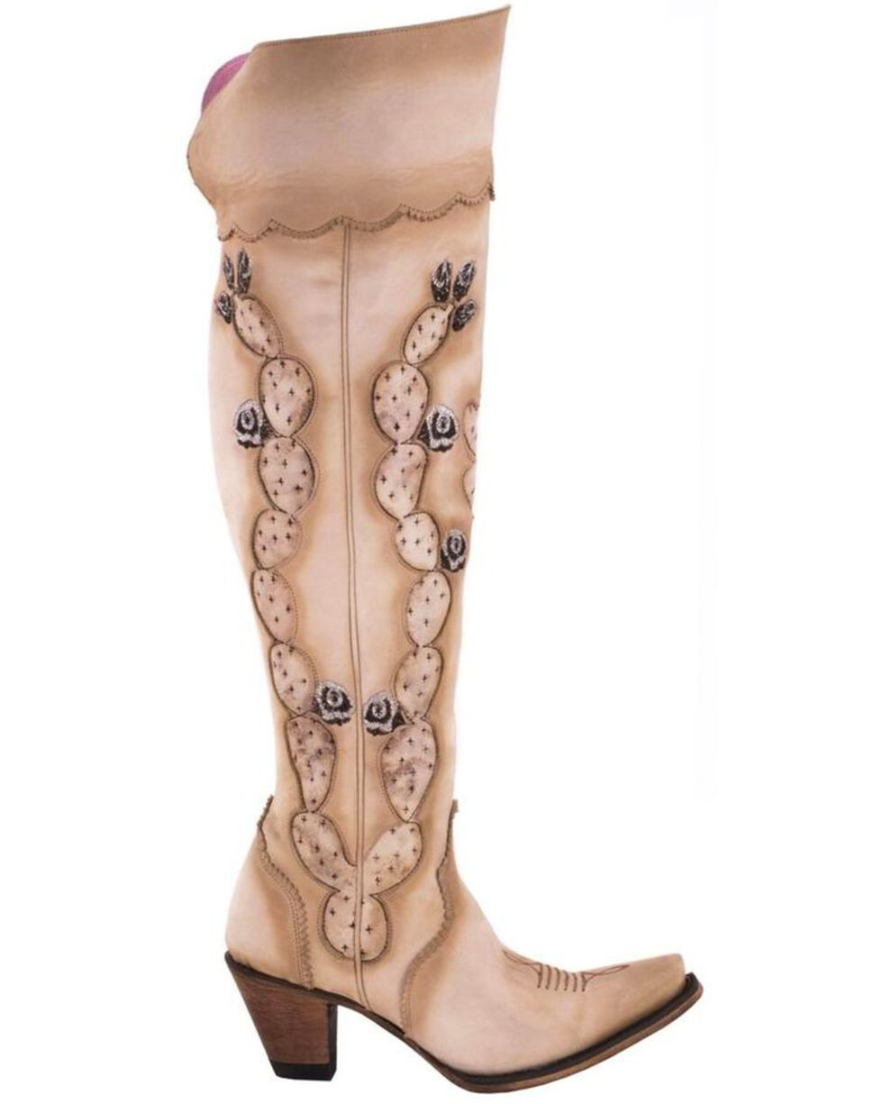 Junk Gypsy by Lane Women's Cactus Knee High Boots - Snip Toe , Cream, hi-res