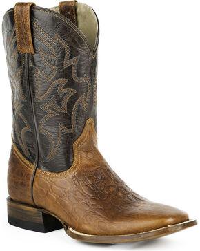 Roper Sea Turtle Print Tall Cowboy Boots - Square Toe, Brown, hi-res