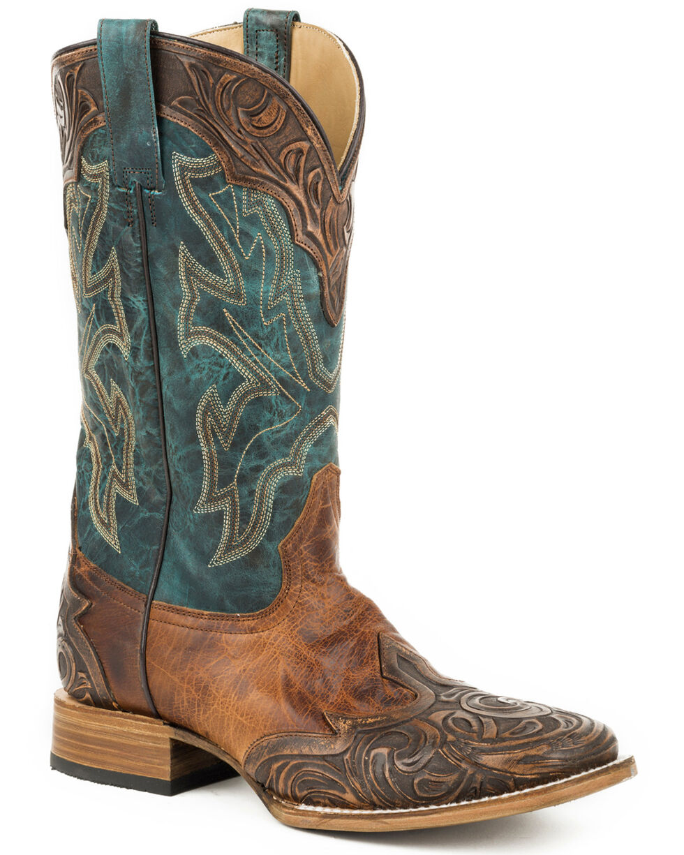 Stetson Men's Brown Kedge Hand-Tooled Boots - Square Toe, Brown, hi-res