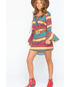 Tasha Polizzi Women's Autumn Serape Tunic Dress , Wine, hi-res