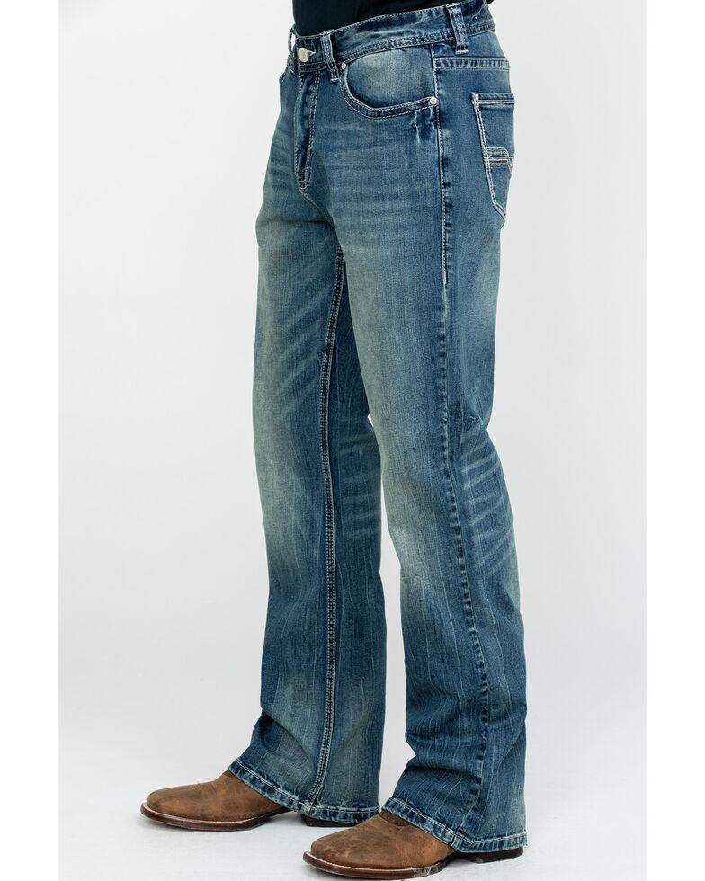 Rock & Roll Cowboy Men's Small V Stitch Relex Double Barrel Bootcut Jeans , Blue, hi-res