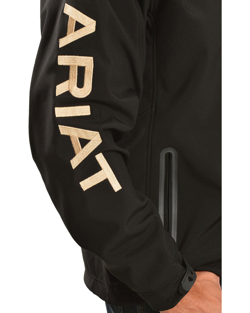 Ariat Men's Team Logo Softshell Jacket, Black, hi-res