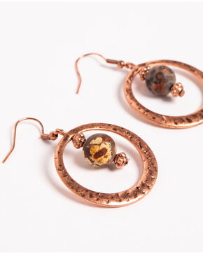 Shyanne Women's Texas Rose Hammered Hoop Earrings, Rust Copper, hi-res