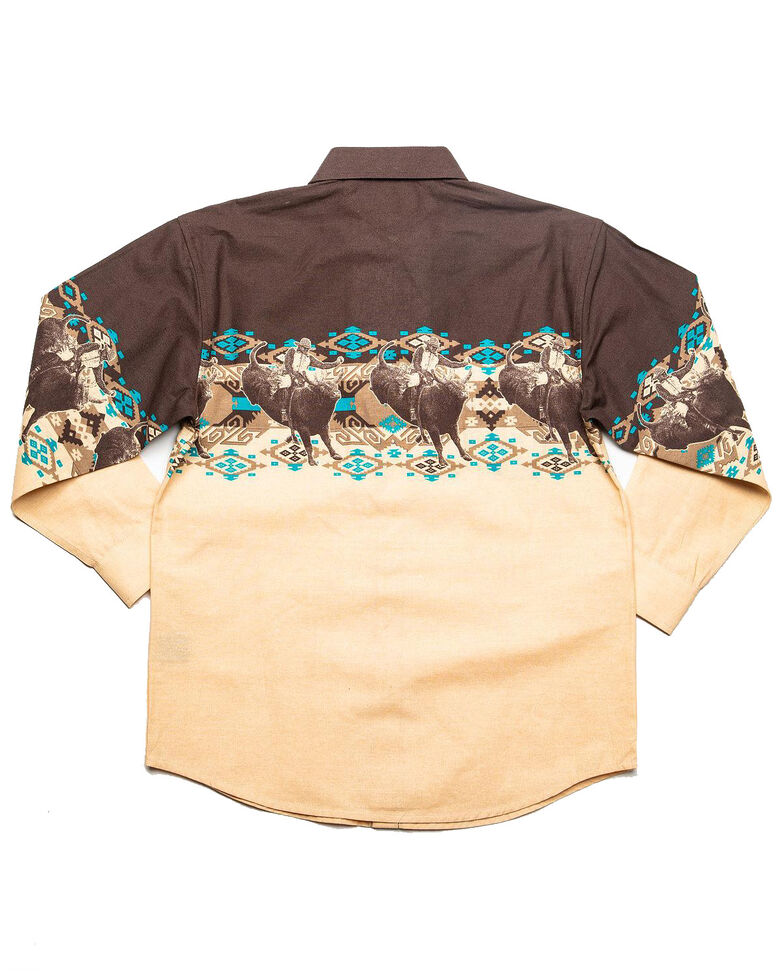 Panhandle Boys' Rodeo Aztec Border Print Long Sleeve Western Shirt , Brown, hi-res