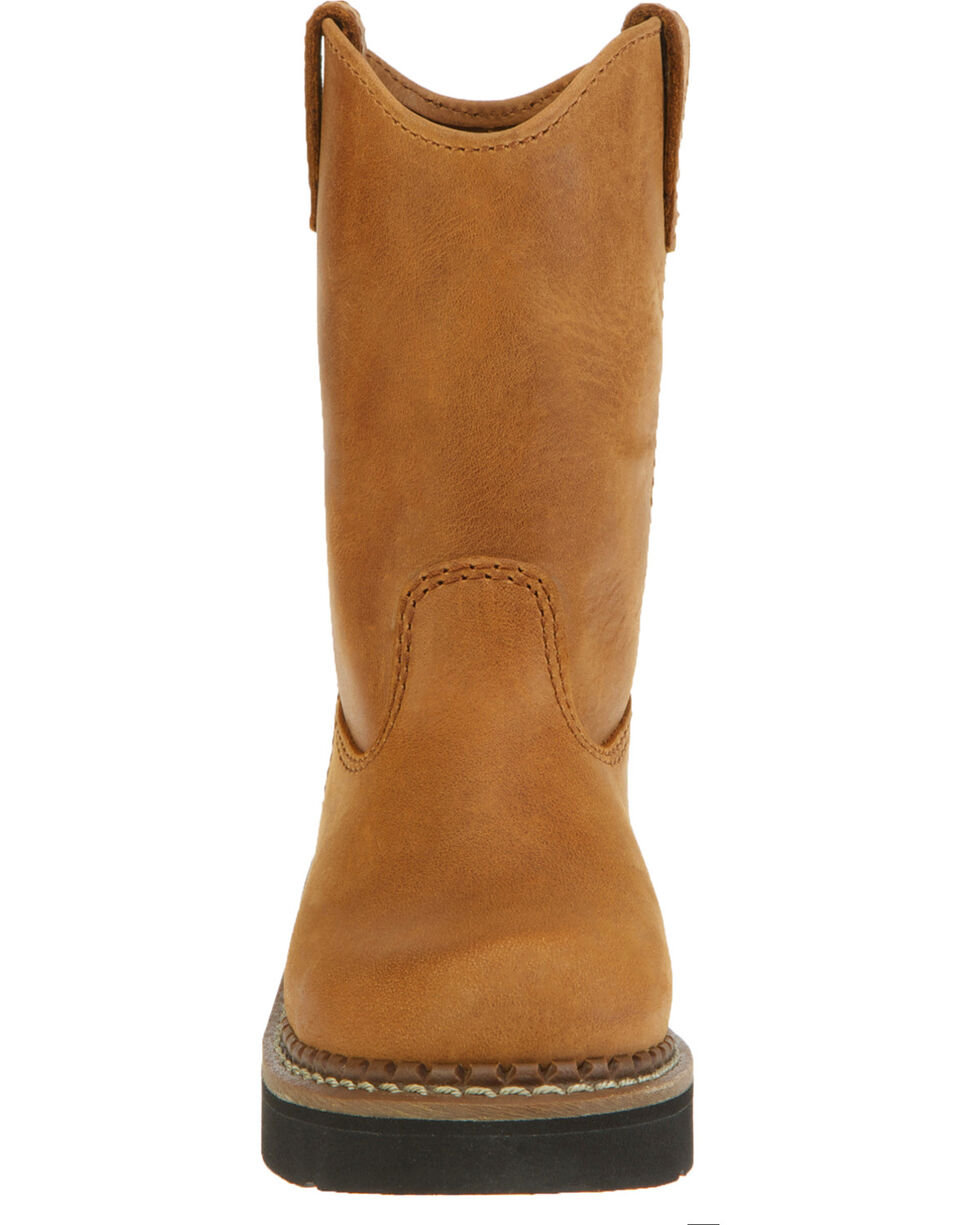 Georgia Kid's Wild West Work Wellington Boots, Brown, hi-res