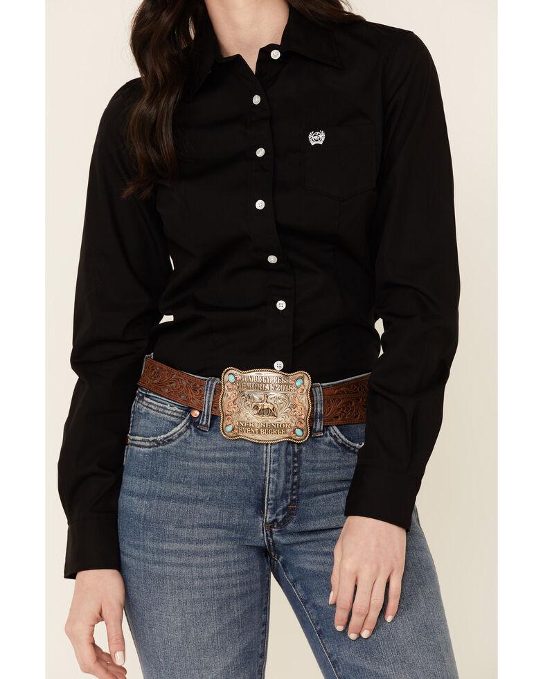 Cinch Women's Western Weave Pocket Shirt, Black, hi-res