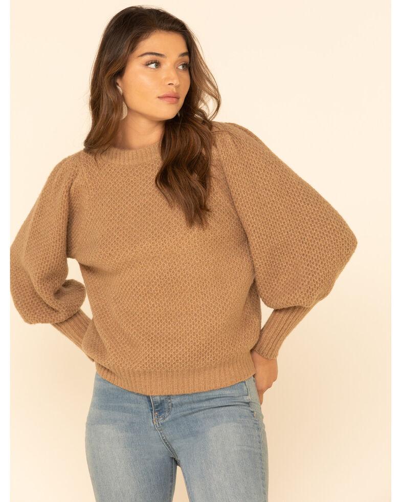 Elan Women's Latte Textured Puff Sleeve Sweater, Tan, hi-res