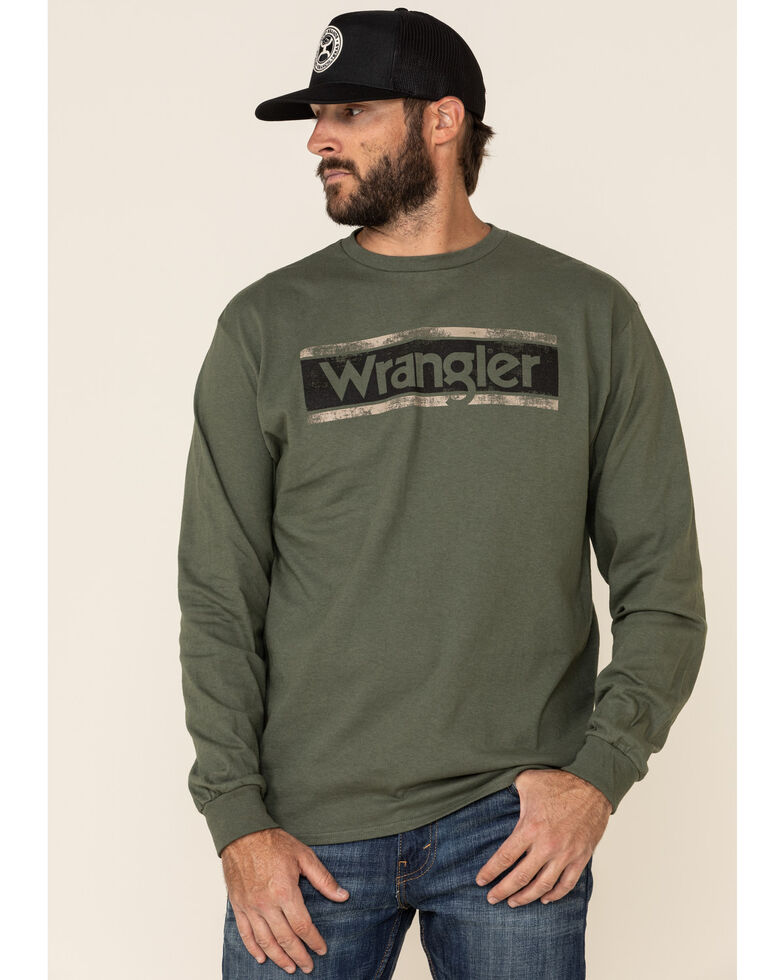 Wrangler Men's Green Logo Block Graphic Long Sleeve T-Shirt , Green, hi-res