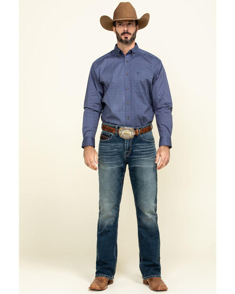 Ariat Men's Newcastle Floral Geo Print Long Sleeve Western Shirt - Tall , Blue, hi-res