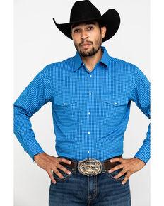 Wrangler Men's Wrinkle Resist Royal Blue Small Plaid Long Sleeve Western Shirt , Blue, hi-res