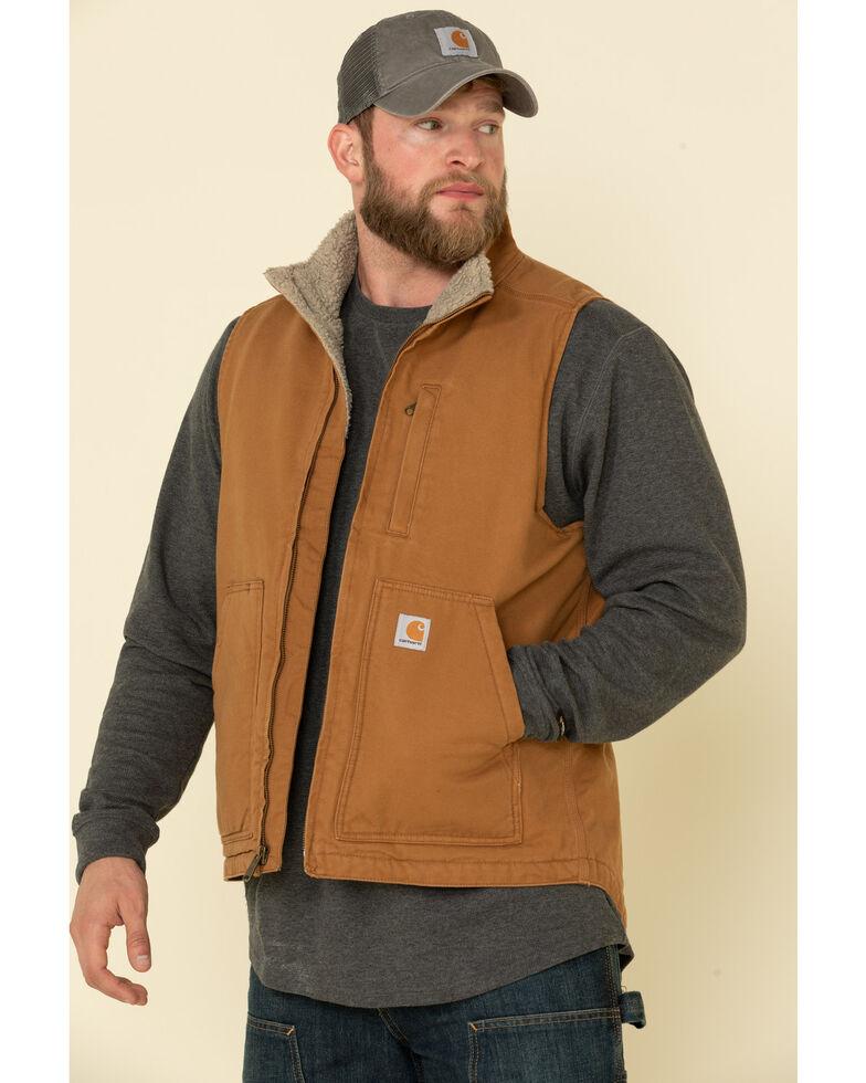 Carhartt Men's Brown Washed Duck Sherpa Lined Mock Neck Work Vest - Big , Brown, hi-res