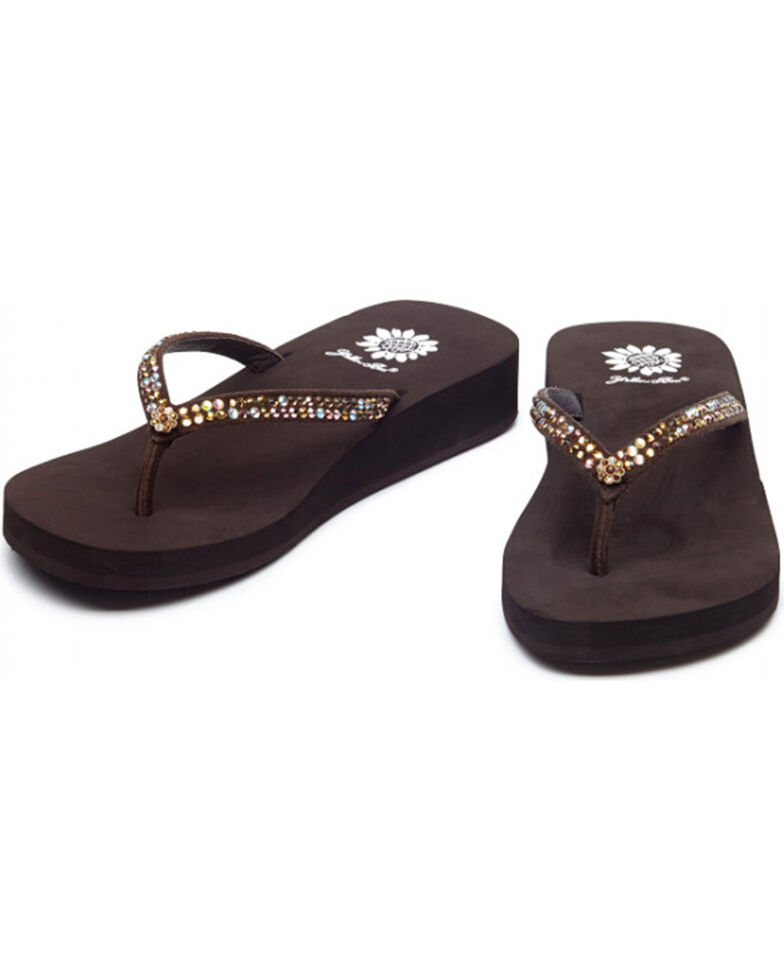 f88a63ceb Yellow Box Women s Brown Jello Jeweled Sandals
