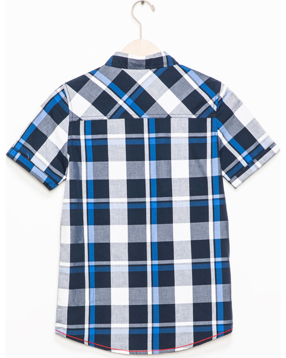 Silver Boys' Navy Plaid Short Sleeve Button Down Shirt, Navy, hi-res
