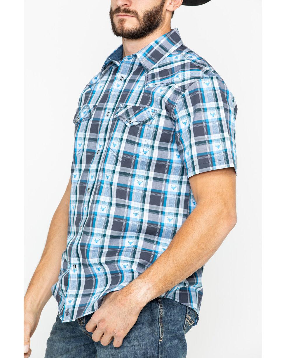 Cody James Men's Bushwacker 2.0 Med Plaid Short Sleeve Western Shirt , Blue, hi-res