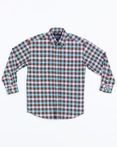 Panhandle Boys' Plaid Lambie Antique Snap Long Sleeve Shirt , Brown, hi-res