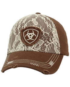 Ariat Women's Lace Overlay Baseball Cap, Brown, hi-res