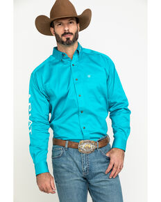 Ariat Men's Blue Team Logo Twill Long Sleeve Western Shirt - Tall , Blue, hi-res
