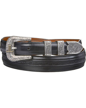 Lucchese Men's Black Goat with Hobby Stitch Leather Belt, Black, hi-res