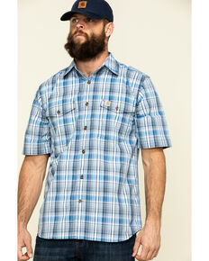 Carhartt Men's Bolt Blue Plaid M-Force Relaxed Short Sleeve Work Shirt , Blue, hi-res