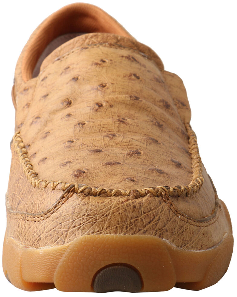Twisted X Men's Ostrich Print Driving Shoes - Moc Toe, Brown, hi-res