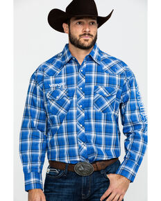 Wrangler Men's Logo Medium Plaid Long Sleeve Western Shirt, Blue, hi-res