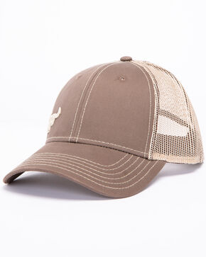 Cowboy Hardware Men's Sand Logo Trucker Cap, Brown, hi-res