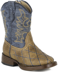 Roper Toddler Boys' Tan Cross Cut Western Boots - Square Toe  , Tan, hi-res