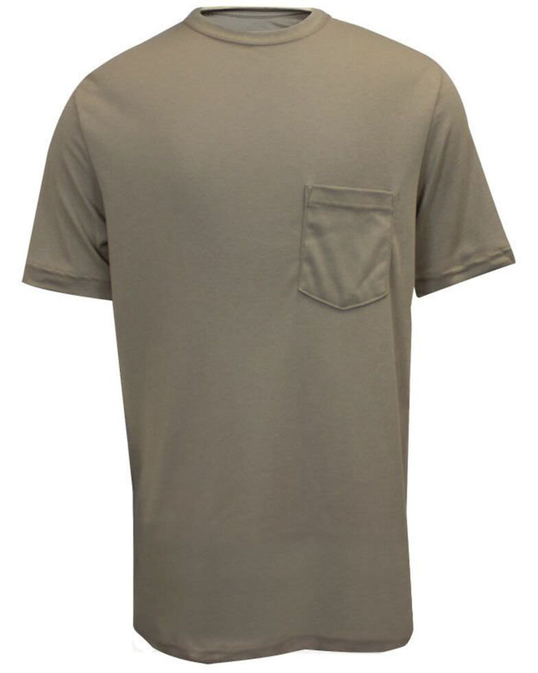 National Safety Apparel Men's Khaki FR Classic Short Sleeve Work T-Shirt - Tall , Beige/khaki, hi-res