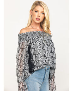Miss Me Women's Off The Shoulder Smocked Snake Print Top, Grey, hi-res
