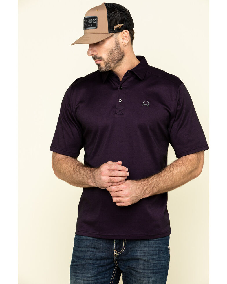 Cinch Men's Arena Flex Purple Solid Short Sleeve Polo Shirt , Purple, hi-res