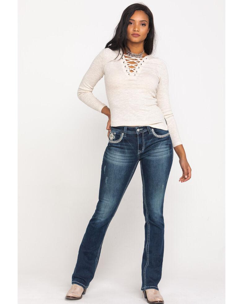 "Grace in LA Women's Dark Geo Embroidered 34"" Bootcut Jeans , , hi-res"
