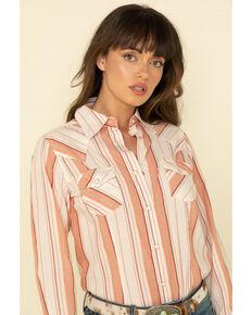 Wrangler Women's Ivory Peach Serape Stripe Long Sleeve Western Shirt, Peach, hi-res