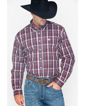 Cinch Men's Burgundy Plaid Long Sleeve Button Down Shirt, Burgundy, hi-res