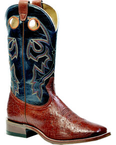 """Boulet Men's Exotic 13"""" Smooth Ostrich Boots, Brandy, hi-res"""
