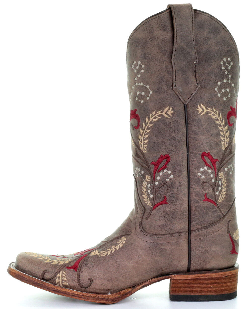 Corral Women's Brown Floral Embroidery Western Boots - Square Toe, Brown, hi-res