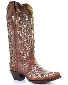 Corral Women's Brown Inlay & Flower Embroidery Western Boots - Snip Toe, Brown, hi-res