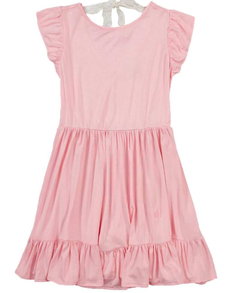 Wrangler Girls' Pink Ruffle Short Sleeve Dress , Pink, hi-res