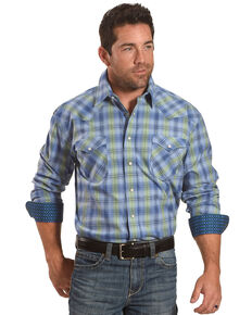 Rough Stock by Panhandle Men's Blue Rockford Plaid Long Sleeve Western Shirt , Blue, hi-res