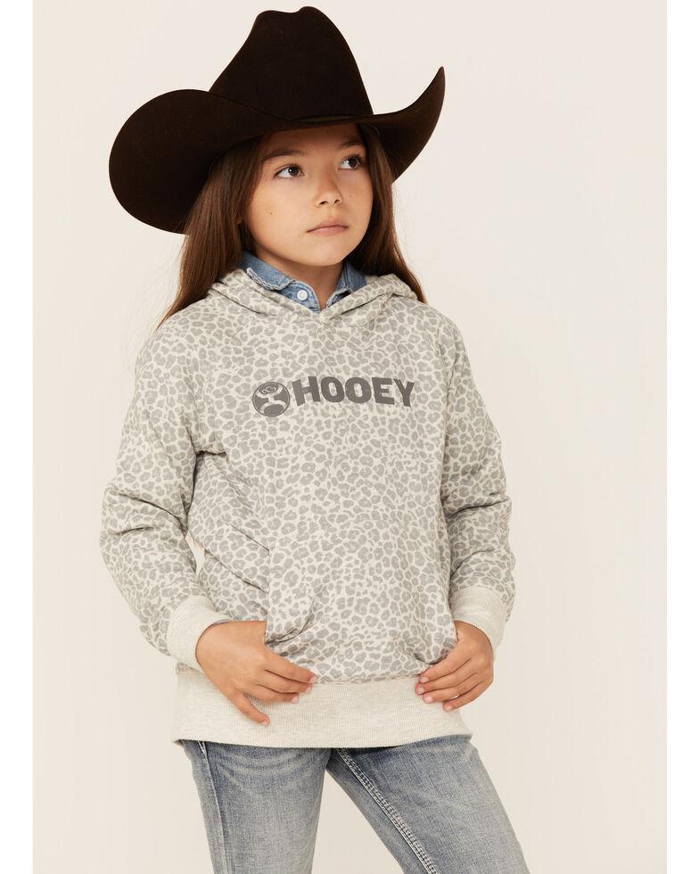HOOEY Girls' Leopard Print Logo Hoodie , Grey, hi-res