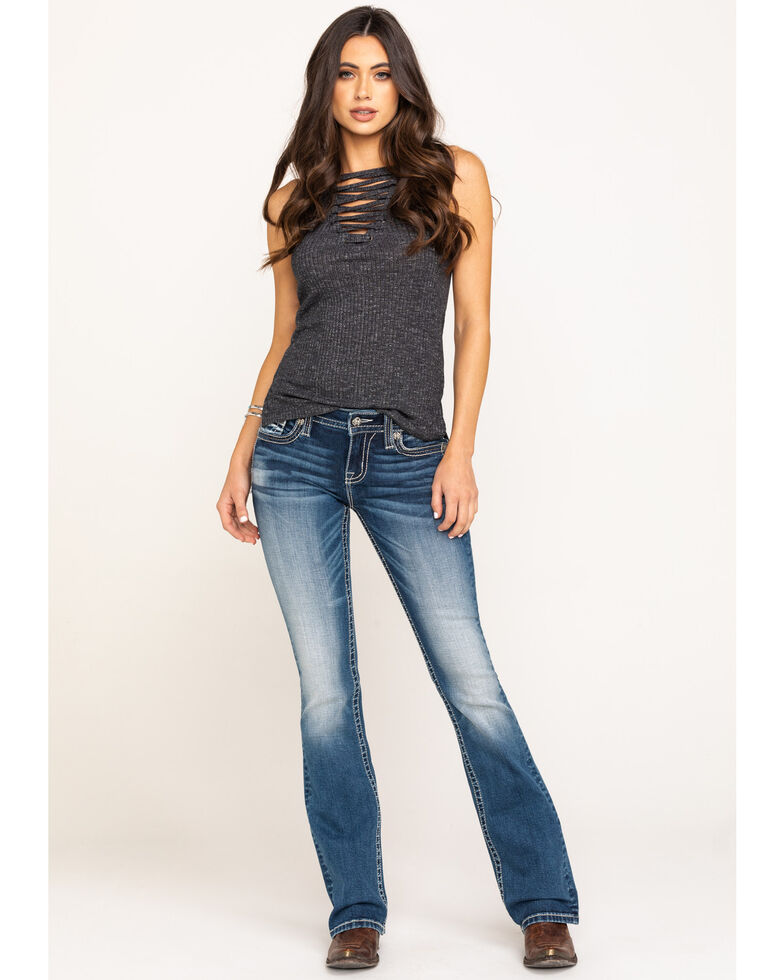 """Miss Me Women's Western Leather Chloe 34"""" Bootcut Jeans, Blue, hi-res"""
