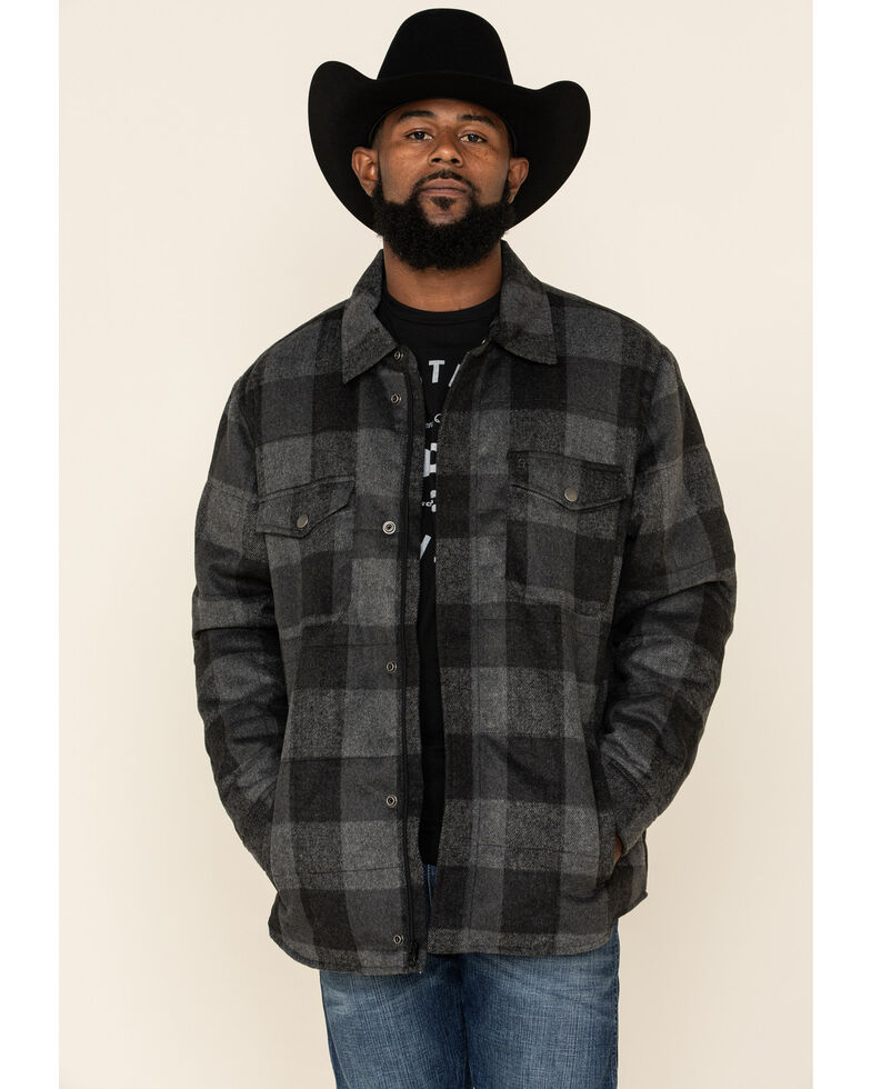 Stetson Men's Original Rugged Grey Buffalo Plaid Brushed Shirt Jacket , Grey, hi-res