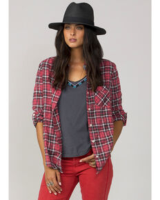 MM Vintage Women's Red Feel Free Plaid Shirt, Red, hi-res
